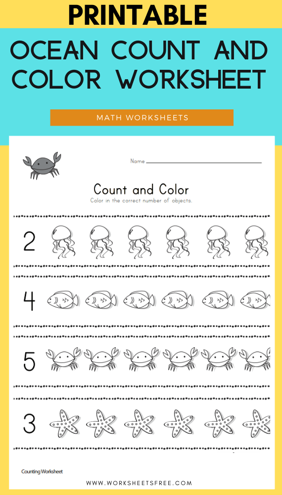 Ocean Count and Color Worksheet