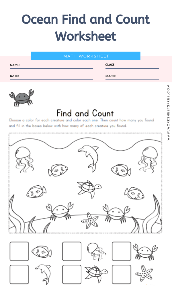 Ocean Find and Count Worksheet