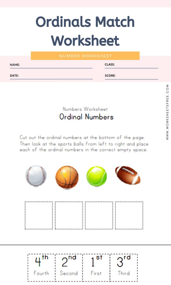 Ordinals Match Worksheet