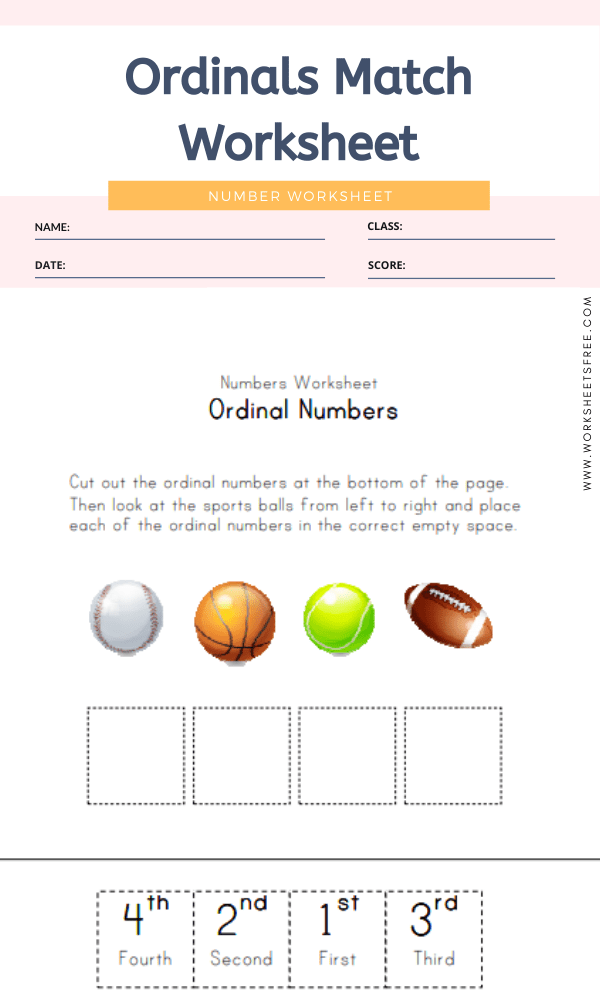 Ordinals Match Worksheet