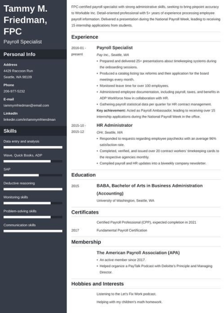 Payroll Specialist Resume Example 3