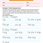 Person Subject and Verb Agreement Worksheets Present