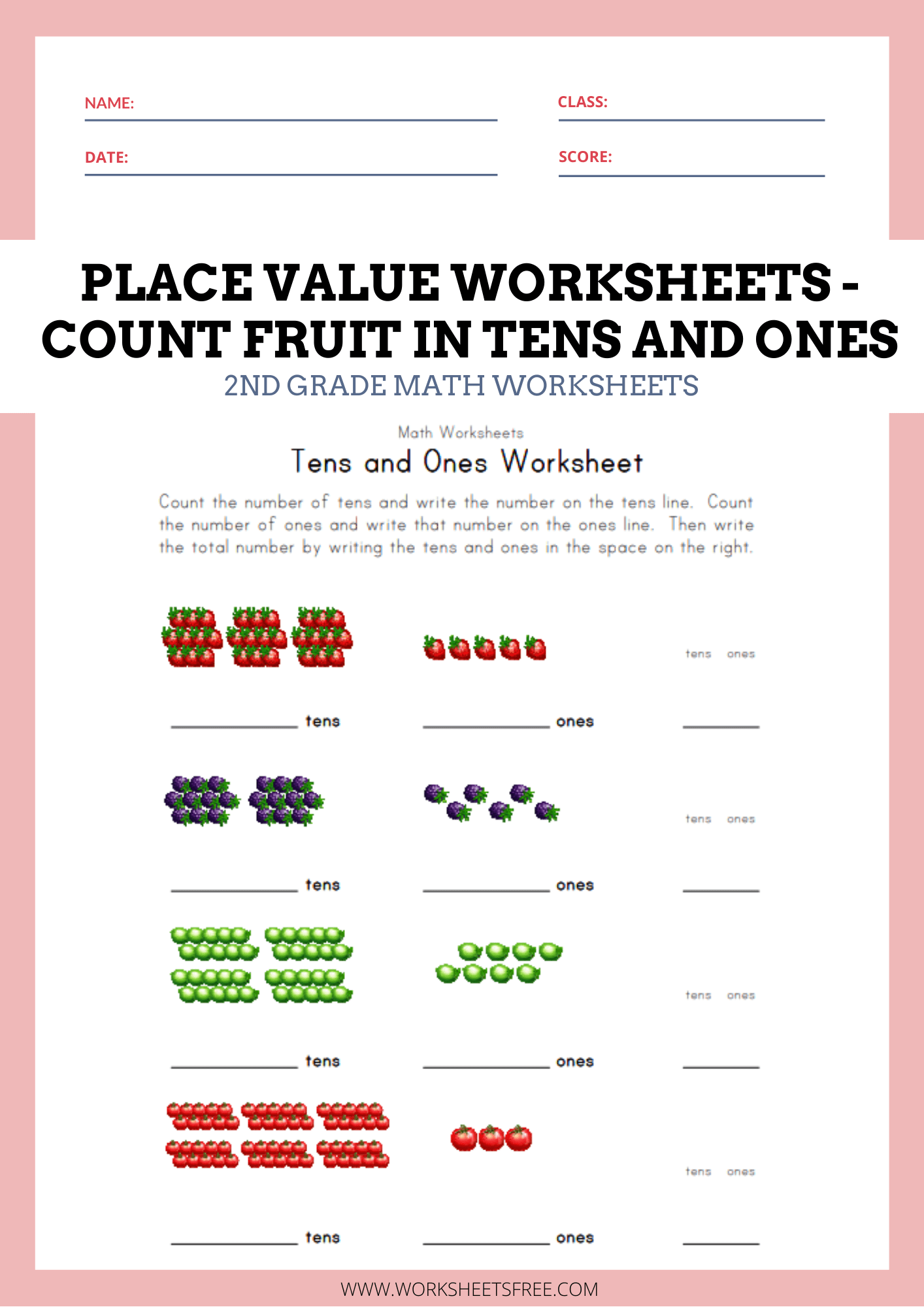 Place Value Worksheets Tens And Ones Count Fruit In Tens