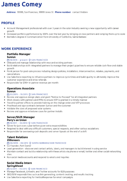 Portfolio Manager Resume Example 2