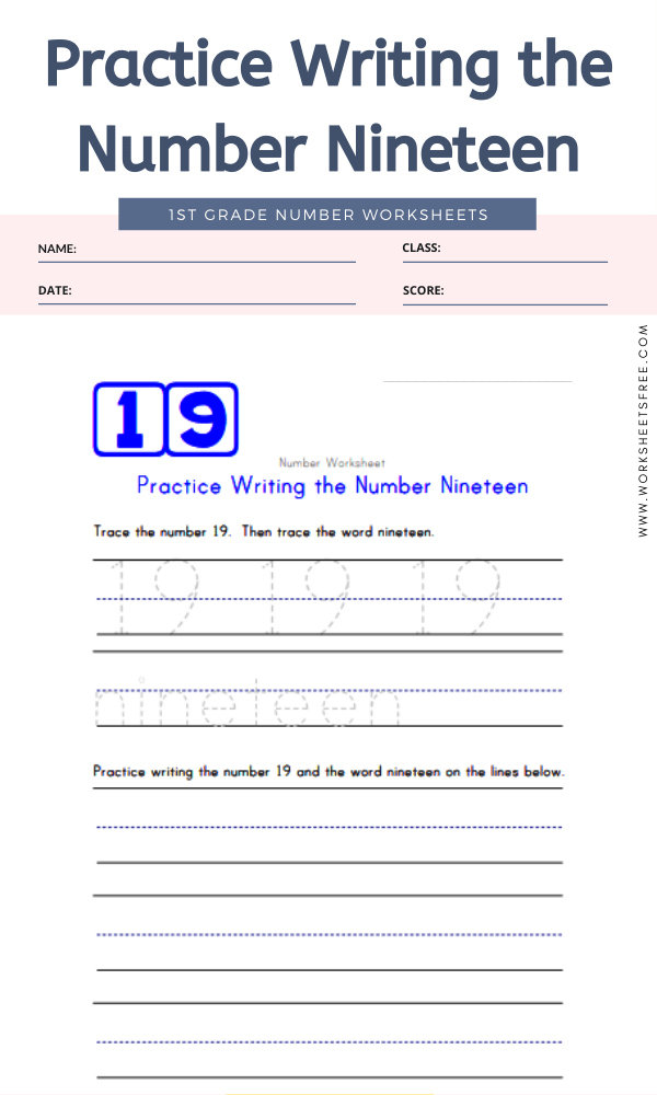 Practice Writing the Number Nineteen