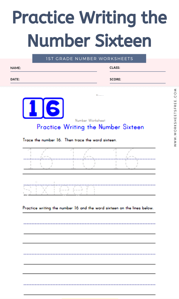 Practice Writing the Number Sixteen