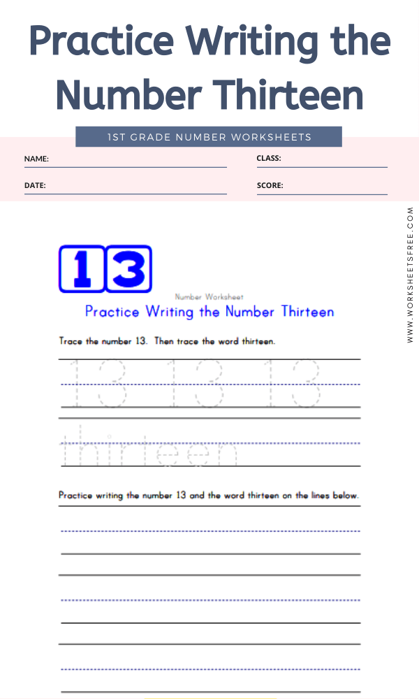 Practice Writing the Number Thirteen