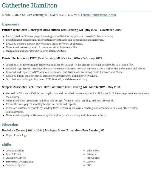 Printer Technician Resume Sample 5