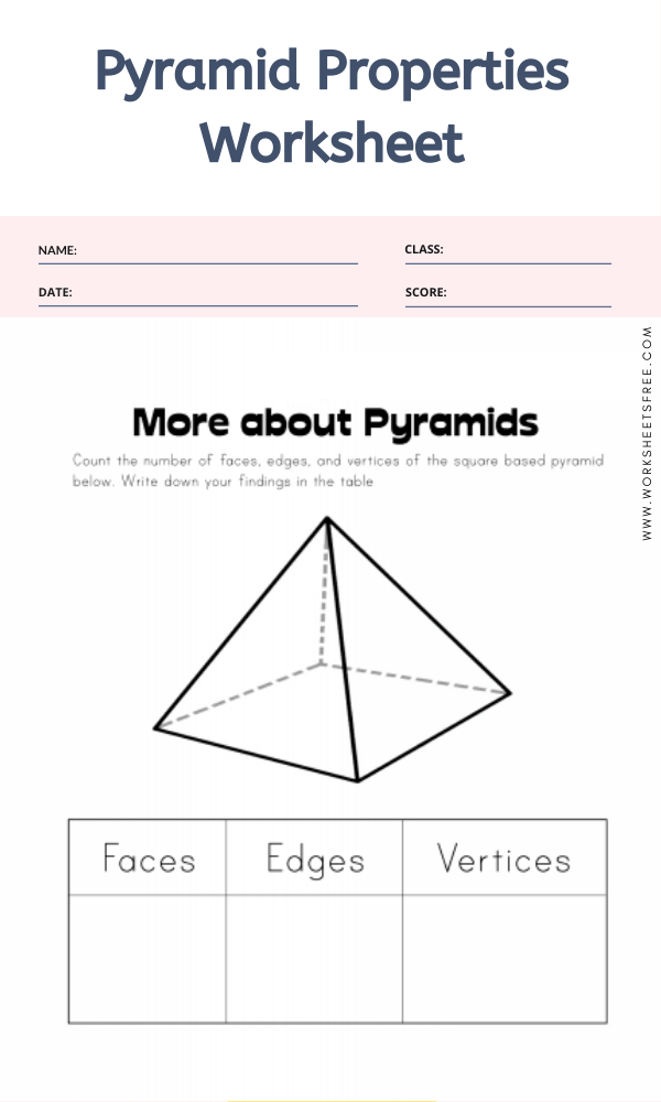Pyramid Properties Worksheet