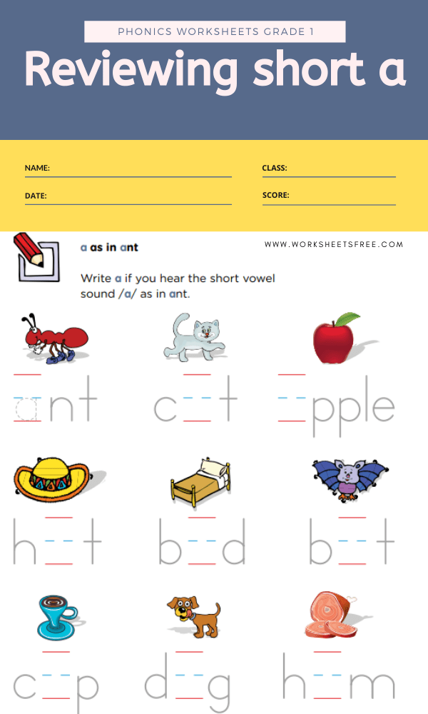 Reviewing Short A Phonics Worksheets Grade 1