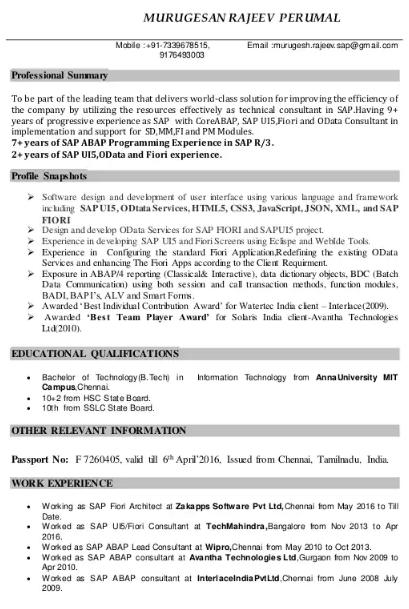 SAP UI5 Fiori Consultant Resume Sample 2