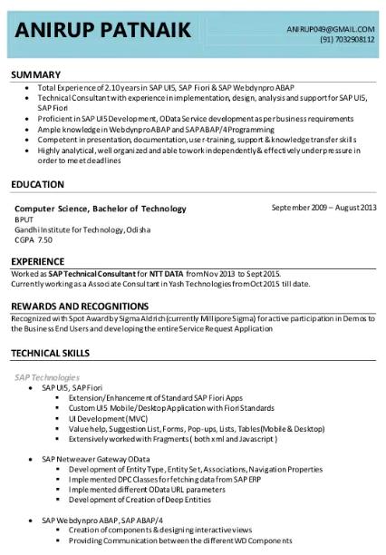 SAP UI5 Fiori Consultant Resume Sample 4