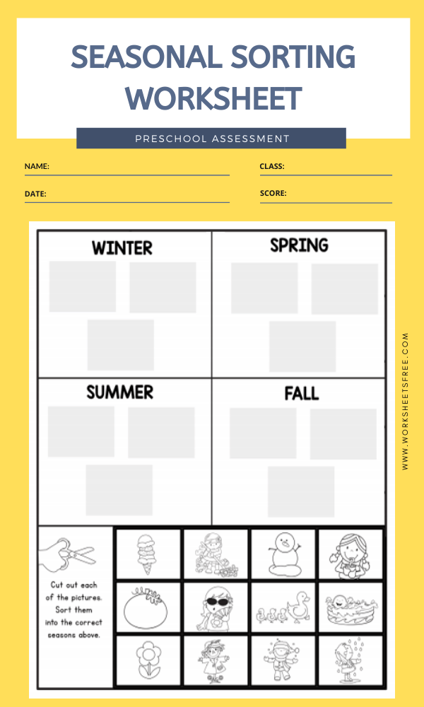 SEASONAL SORTING WORKSHEET
