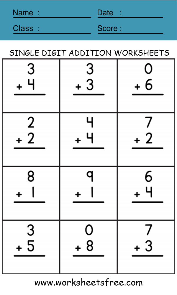 SINGLE DIGIT ADDITION WORKSHEET 1