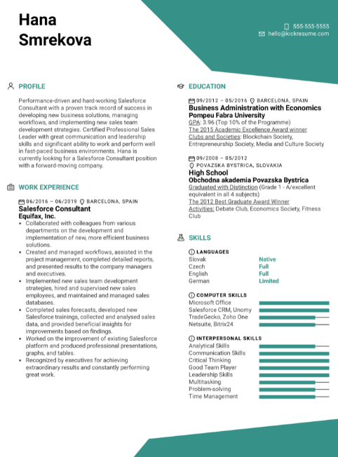 Salesforce CRM Resume Sample 5