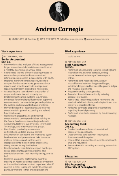 Senior Accountant Resume Example 1