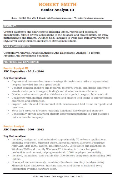 Senior Analyst Resume Sample 3