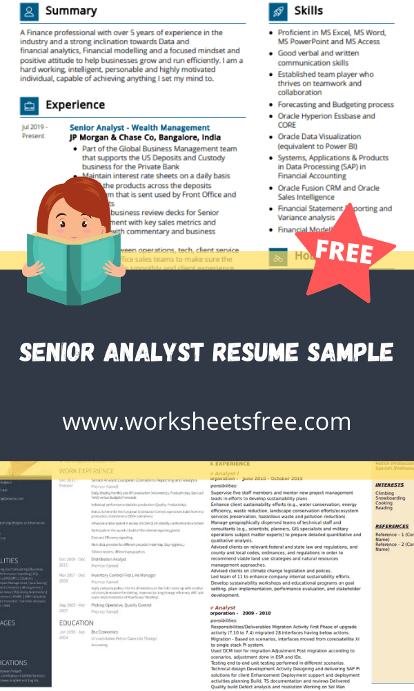 Senior Analyst Resume Sample