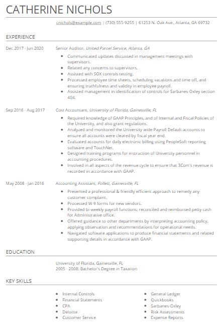 Senior Auditor Resume Sample 4