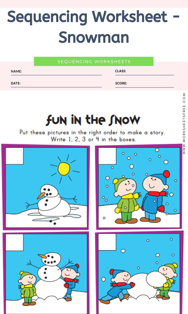 Sequencing Worksheet - Snowman