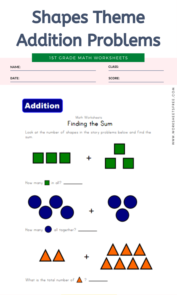 Shapes Theme Addition Problems
