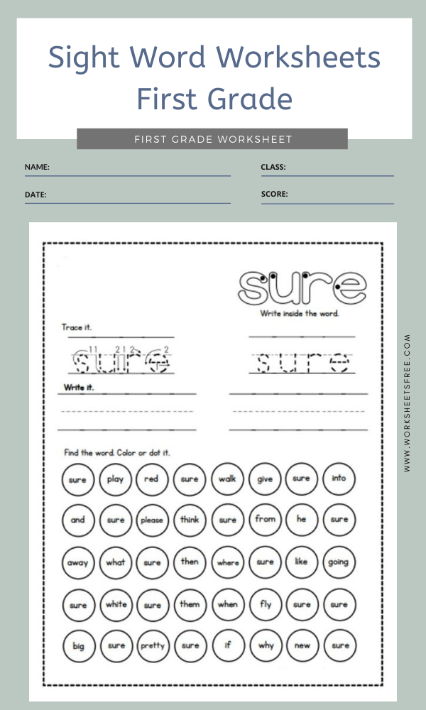 Sight Word Worksheets First Grade 1