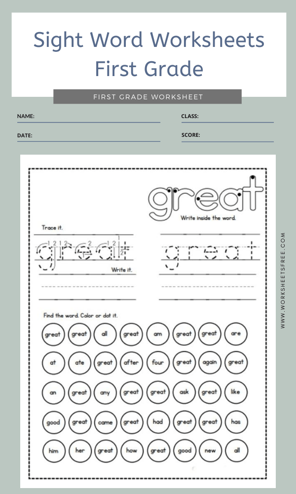 Sight Word Worksheets First Grade 4