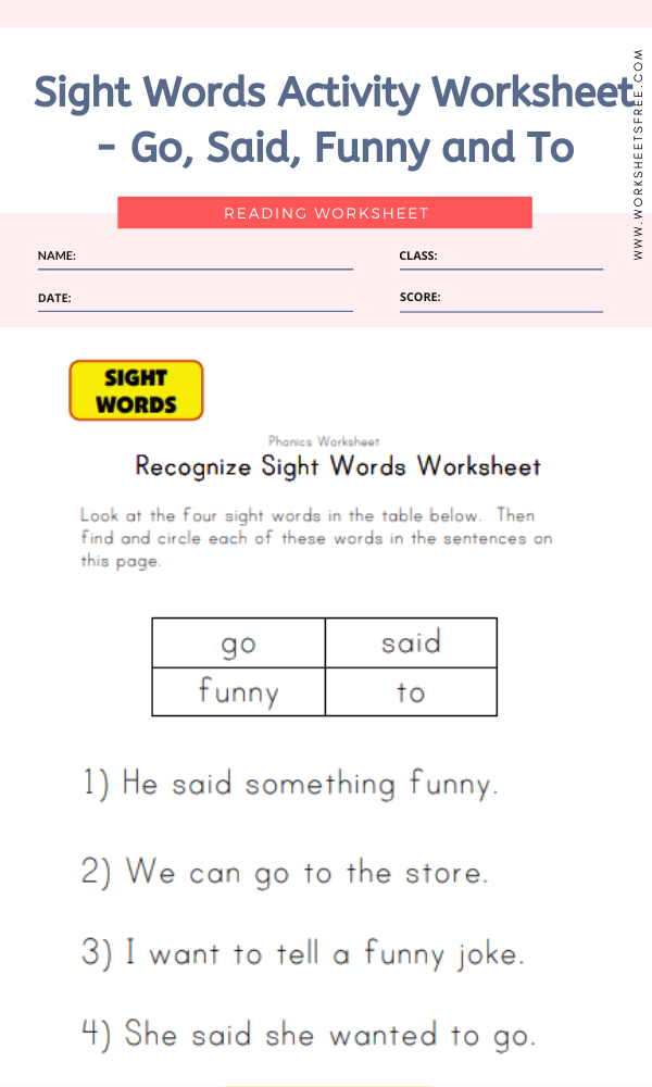 Sight Words Activity Worksheet - Go, Said, Funny and To