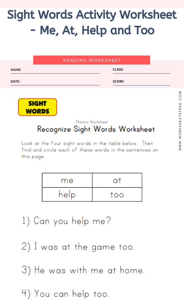 Sight Words Activity Worksheet - Me, At, Help and Too