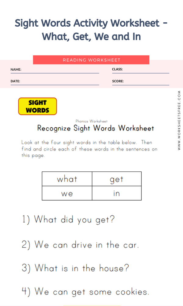 Sight Words Activity Worksheet - What, Get, We and In