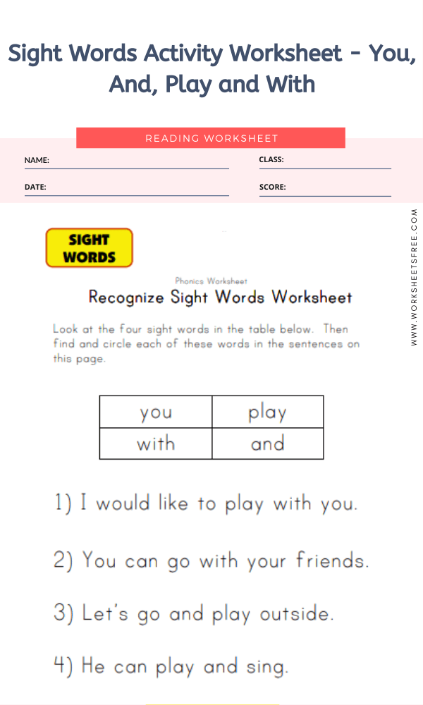 Sight Words Activity Worksheet - You, And, Play and With
