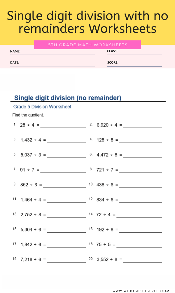 Single digit division with no remainders Worksheets For Grade 5