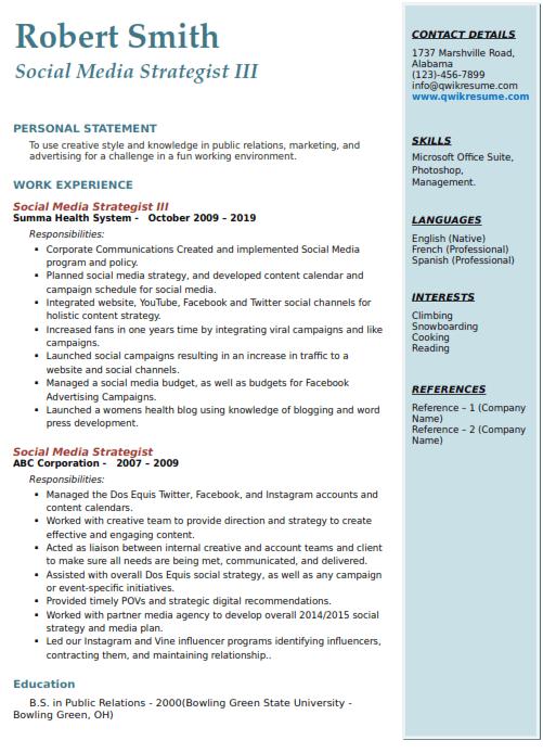 Social Media Strategist Resume Sample 3