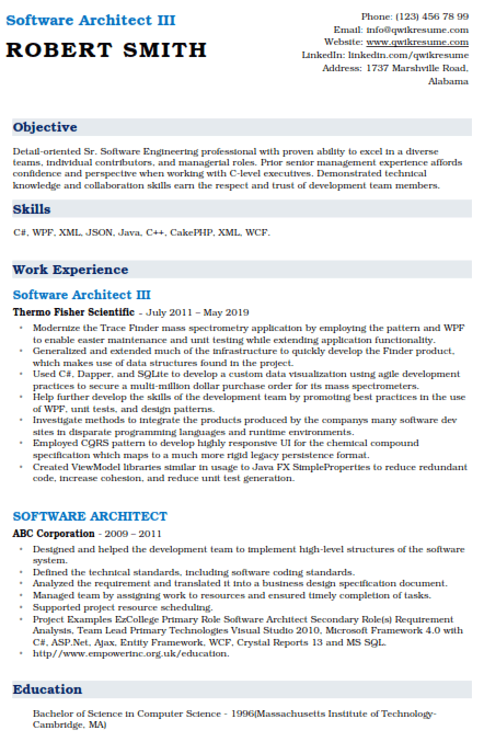 Software Architect Resume Sample 3