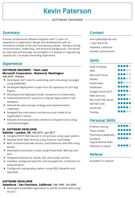 Software Engineer Resume Sample 1