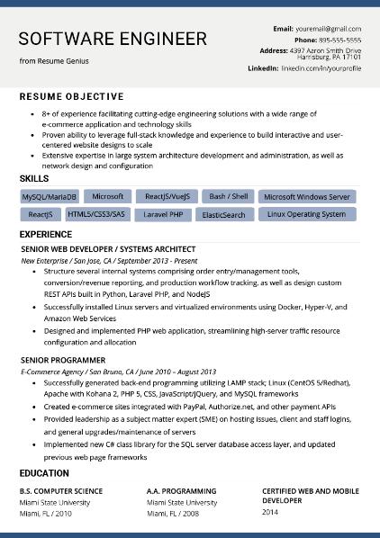 Software Engineer Resume Sample 2