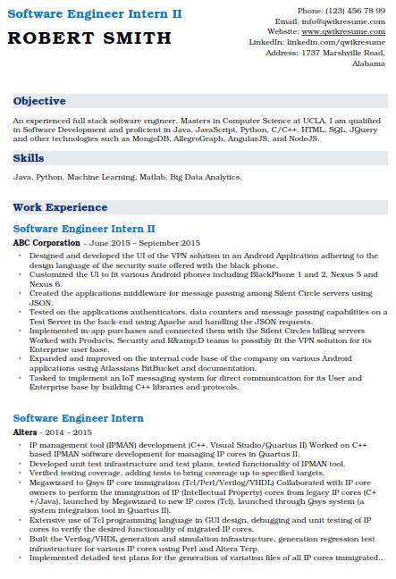 Software Engineering Internship Resume 2