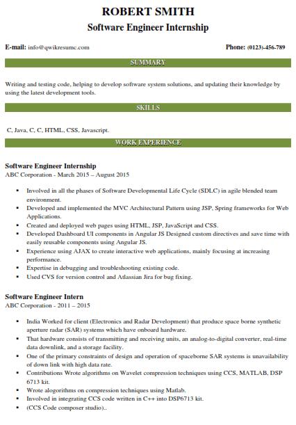 Software Engineering Internship Resume 5