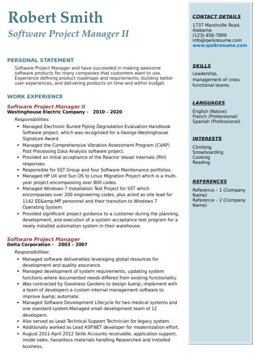 Software Project Manager Resume Sample 2