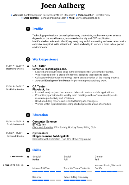 Software Tester Resume Example 3