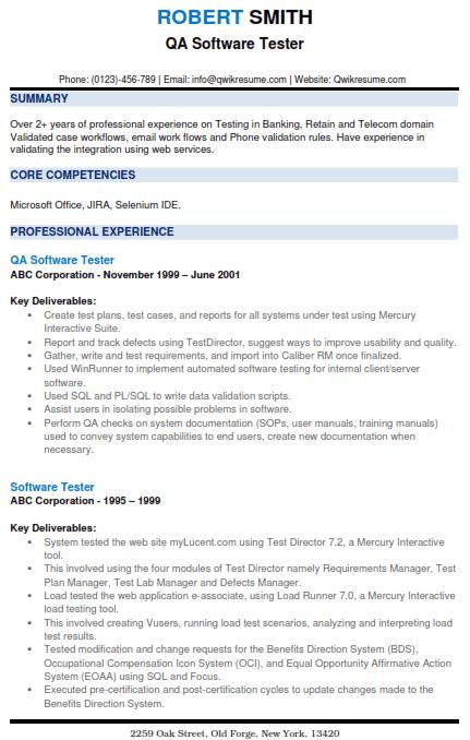 Software Testing Resume Sample 5