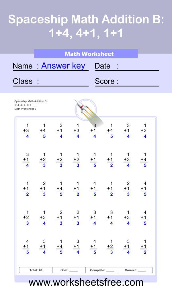 Spaceship Math Addition B worksheet 2 answer