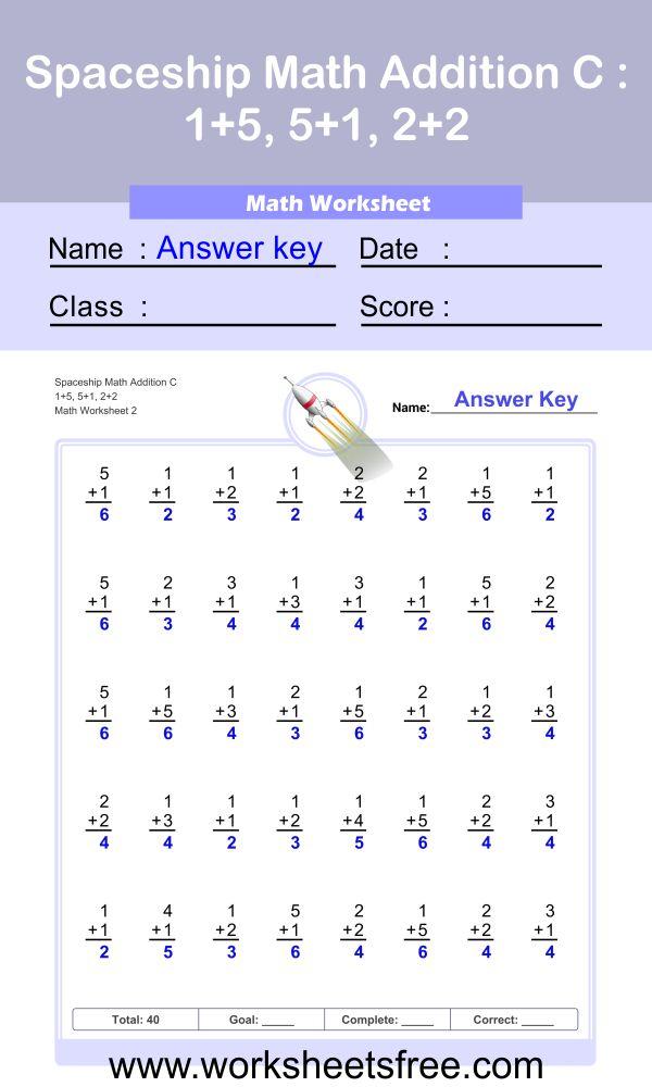 Spaceship Math Addition C 2 + answer