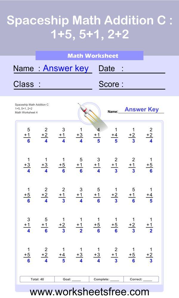 Spaceship Math Addition C 4 + answer