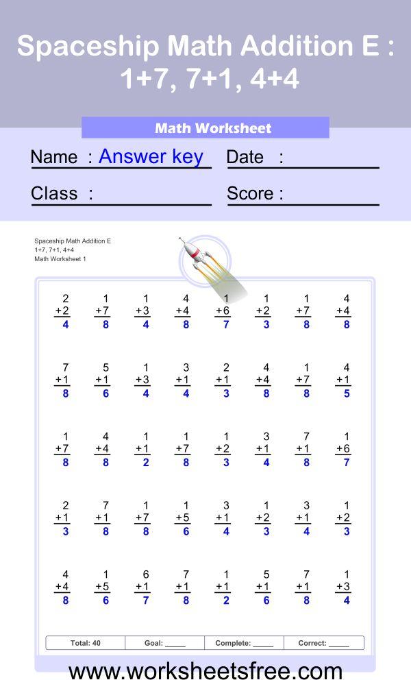 Spaceship Math Addition E 1 + answer