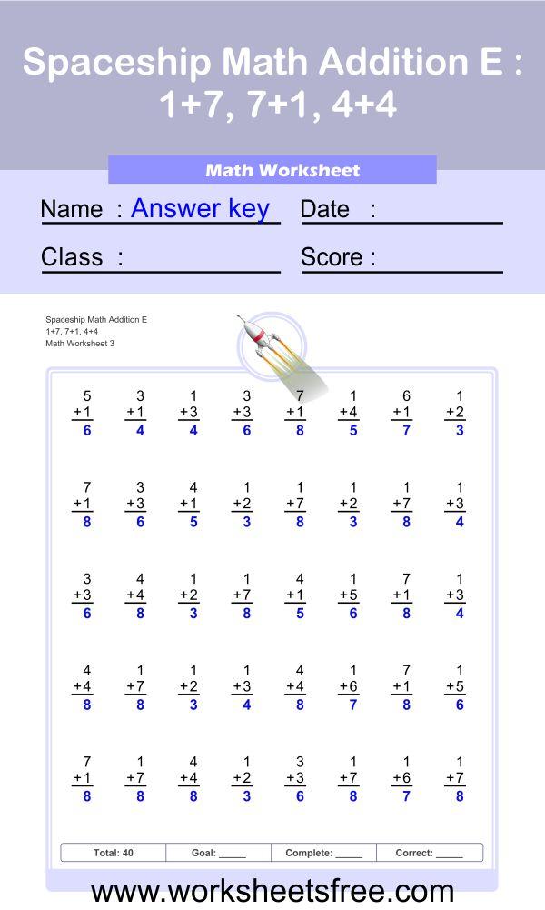 Spaceship Math Addition E 3 + answer