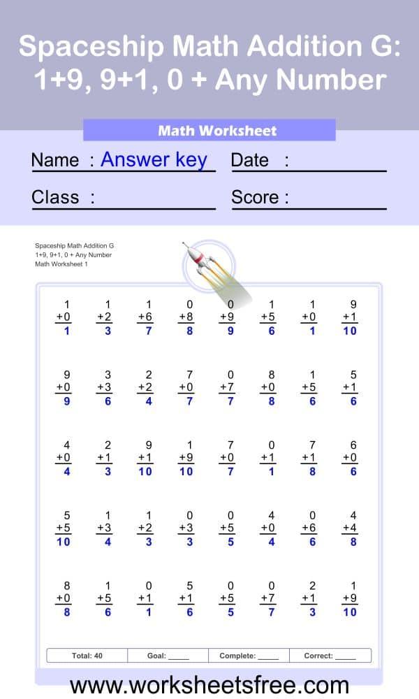 Spaceship Math Addition G 1 + Answer