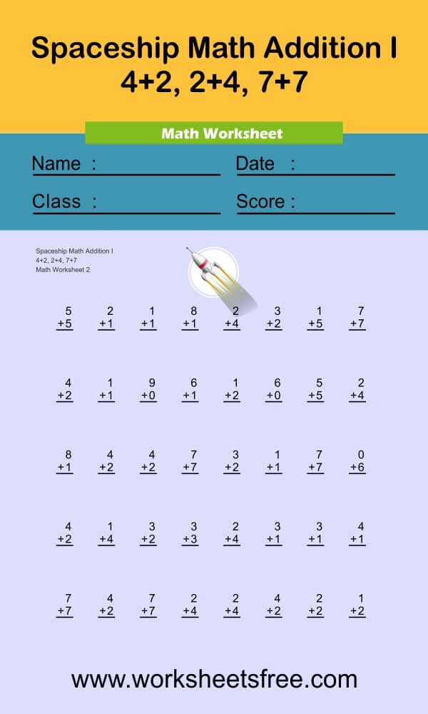 Spaceship Math Addition I 2