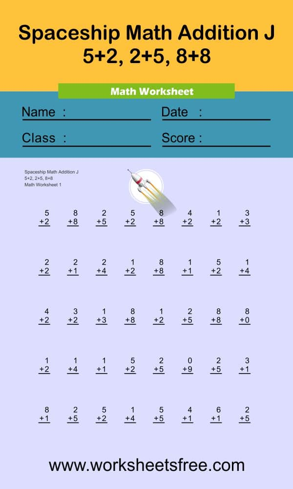Spaceship Math Addition J 1