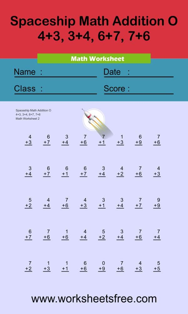 Spaceship Math Addition O 3 + answer